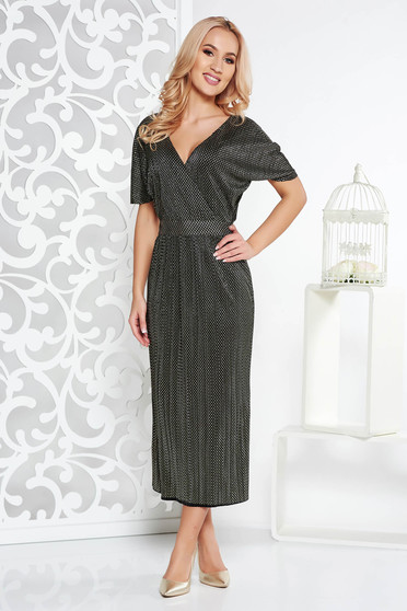 Gold dress occasional midi thin fabric with metallic aspect with inside lining with v-neckline