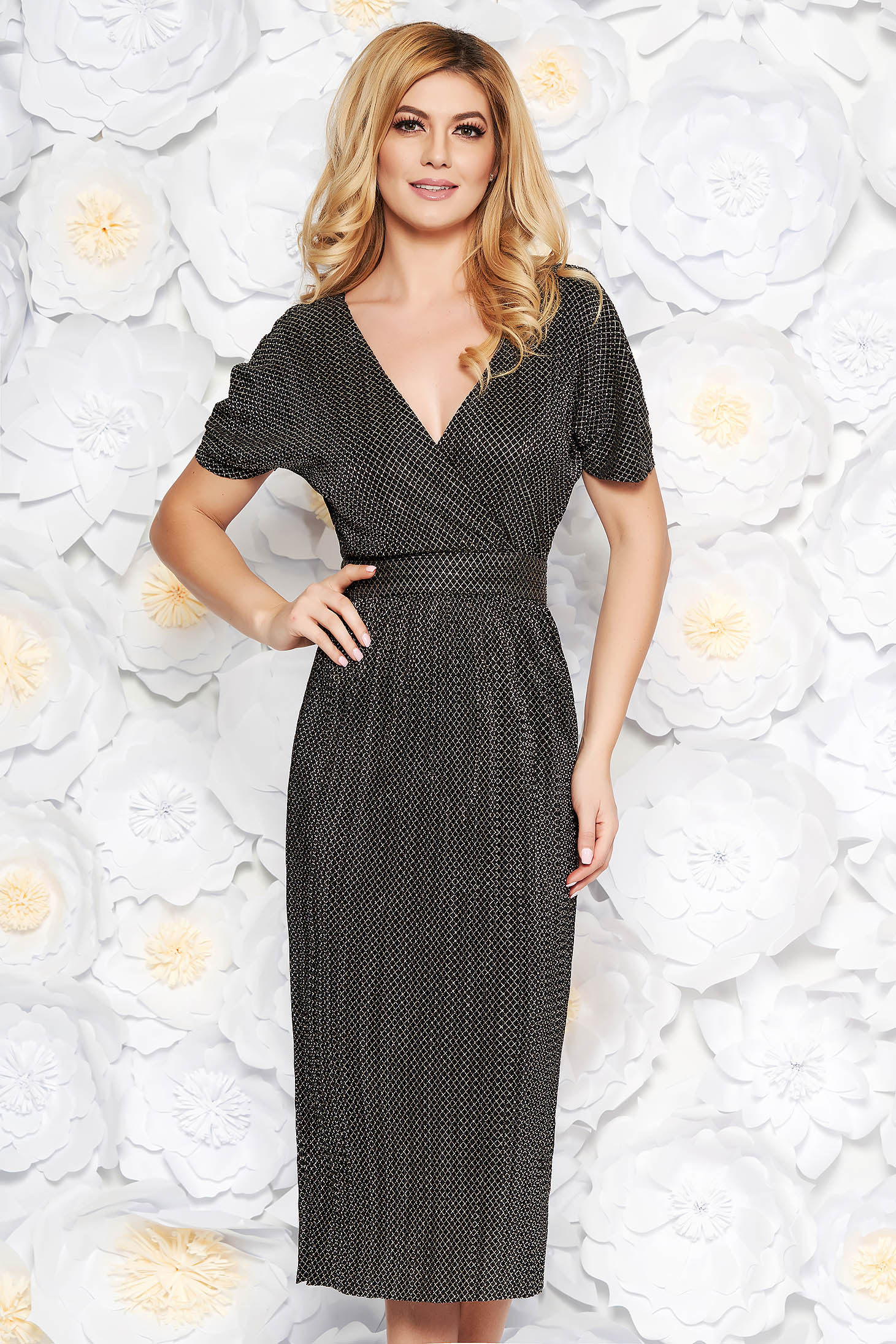 Gold occasional midi dress thin fabric with metallic aspect with inside lining with v-neckline