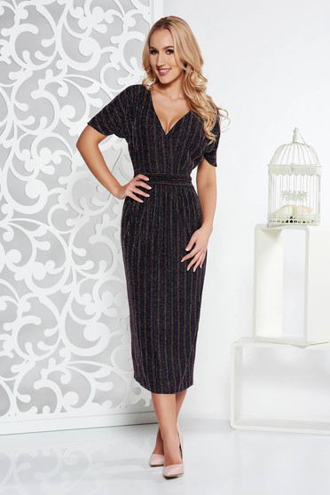 Black occasional midi dress thin fabric with metallic aspect with inside lining with v-neckline