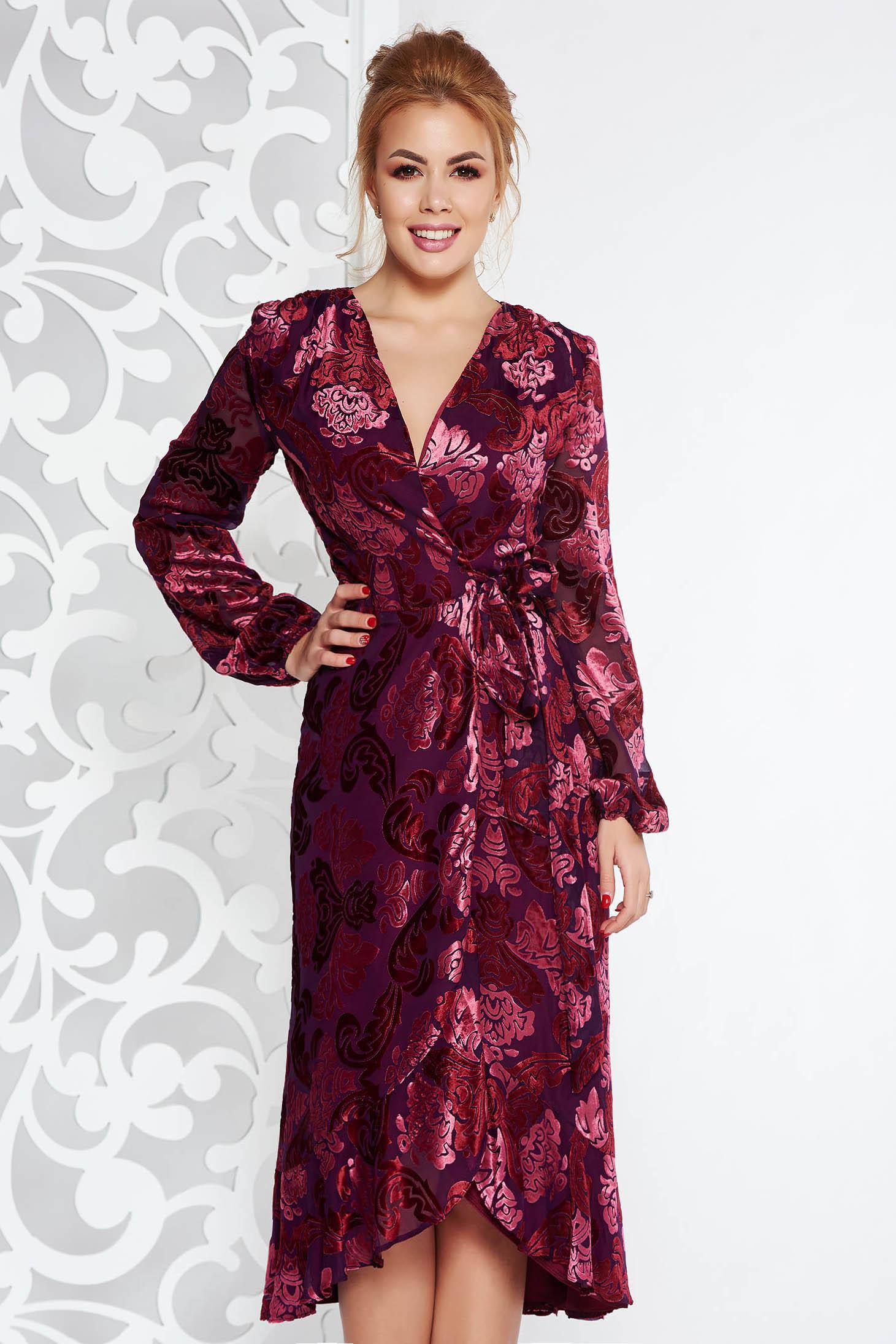 Burgundy elegant wrap around dress from velvet fabric with inside lining with v-neckline