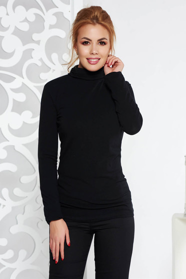 Black women`s blouse casual turtleneck slightly elastic cotton with tented cut long sleeve