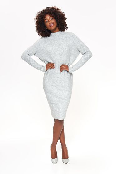 Top Secret lightgrey daily midi flared dress knitted fabric long sleeved