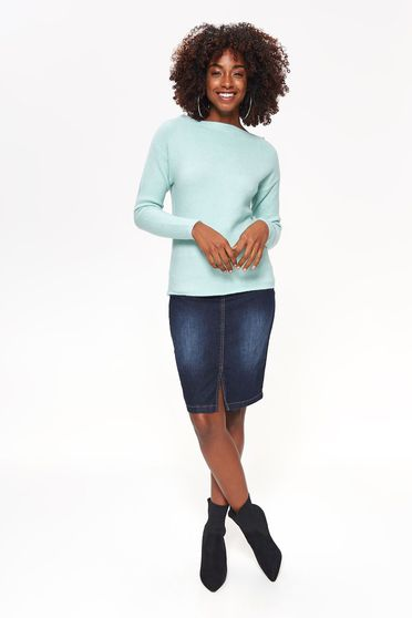Top Secret mint sweater casual with tented cut knitted fabric long sleeved
