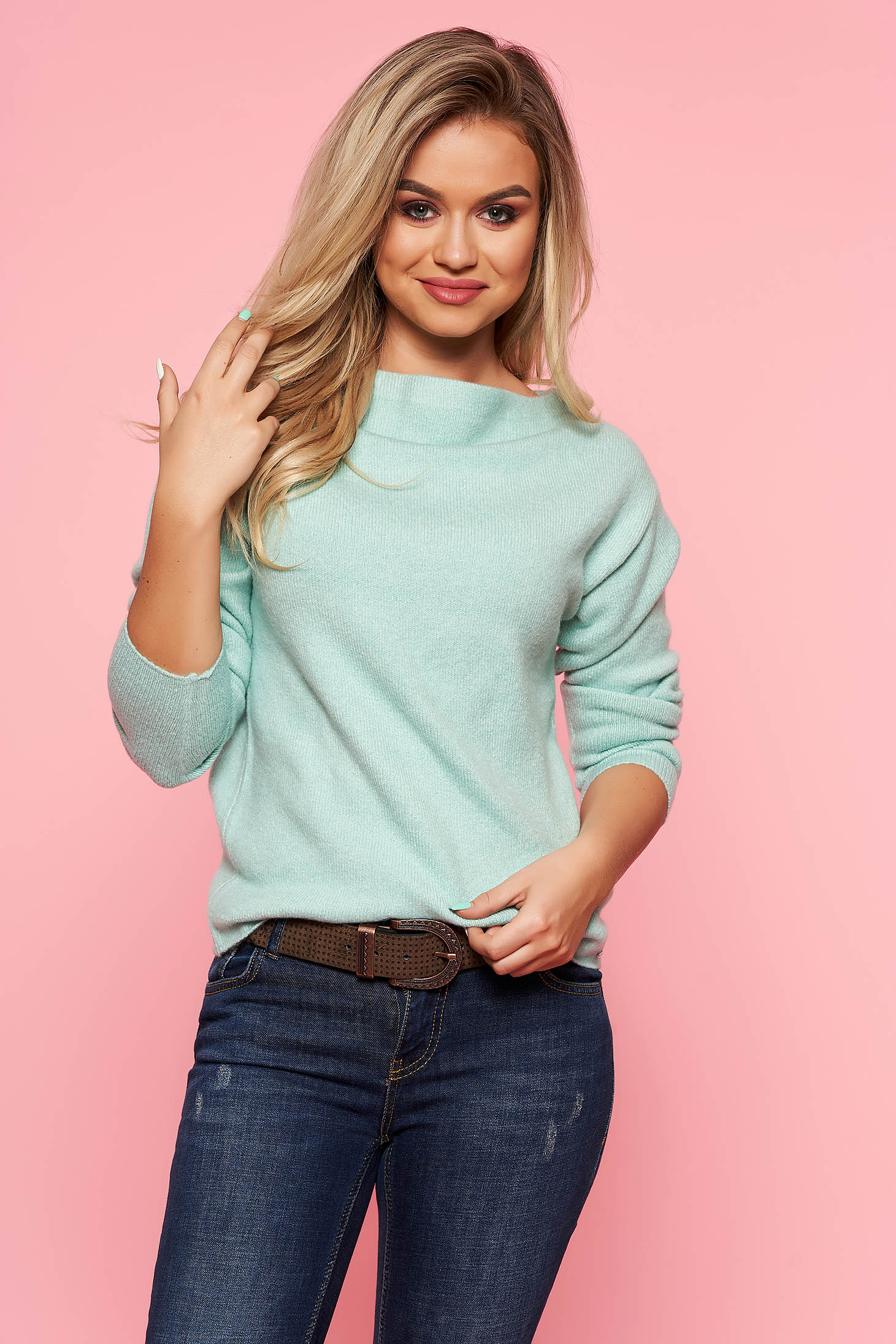Top Secret mint casual sweater with tented cut knitted fabric long sleeved