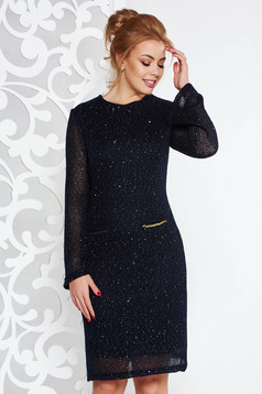 Fofy darkblue elegant dress with straight cut knitted fabric with inside lining with sequin embellished details