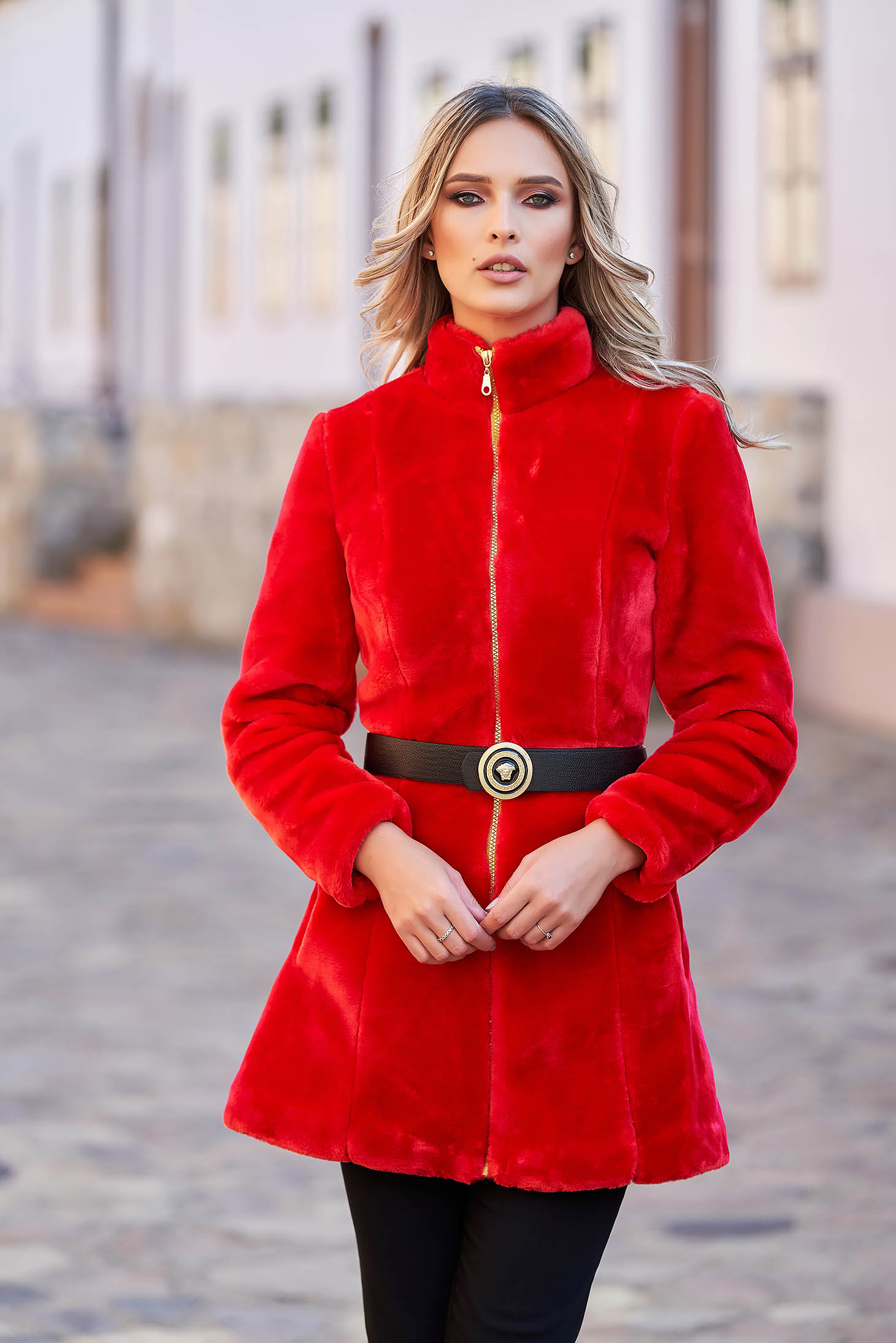 Red ecological fur with inside lining accessorized with belt