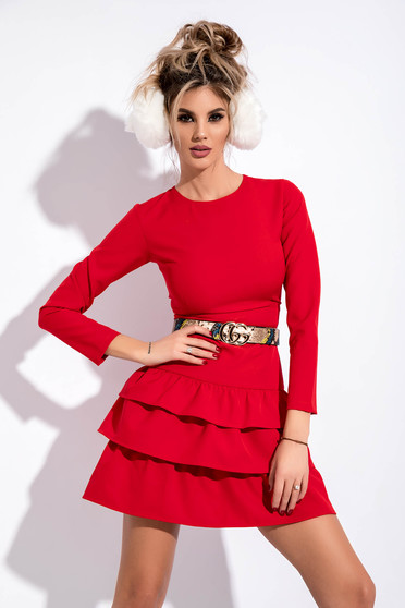 Red clubbing dress slightly elastic fabric with tented cut accessorized with belt