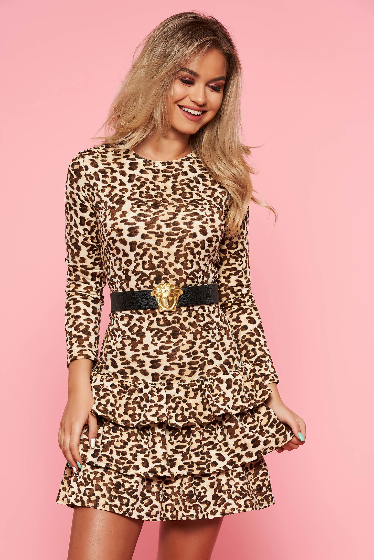 Brown clubbing dress with tented cut accessorized with belt