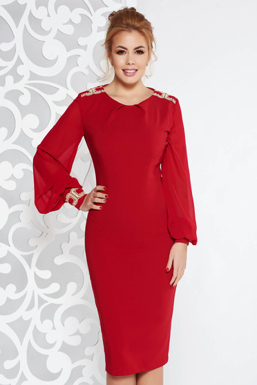 LaDonna burgundy elegant midi pencil dress slightly elastic fabric with inside lining with embroidery details