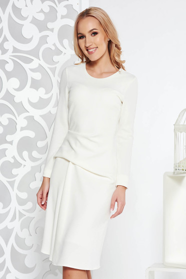 StarShinerS white dress daily midi cloche slightly elastic fabric with inside lining long sleeve
