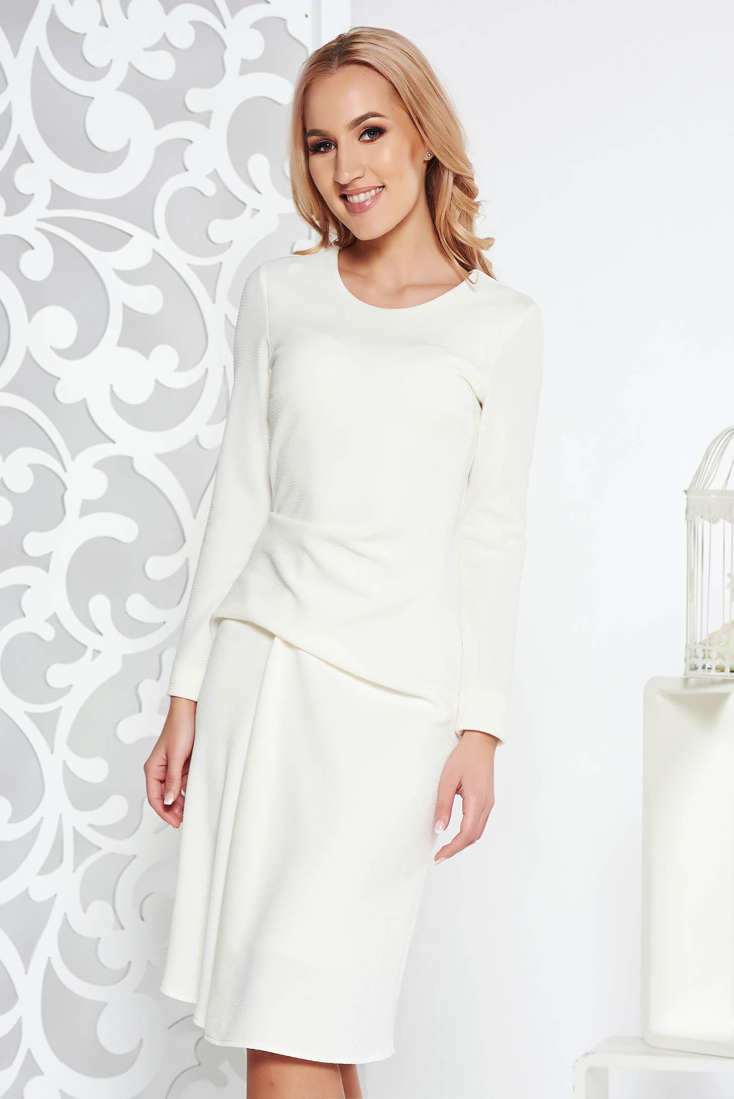 StarShinerS white daily midi dress slightly elastic fabric with inside lining long sleeve