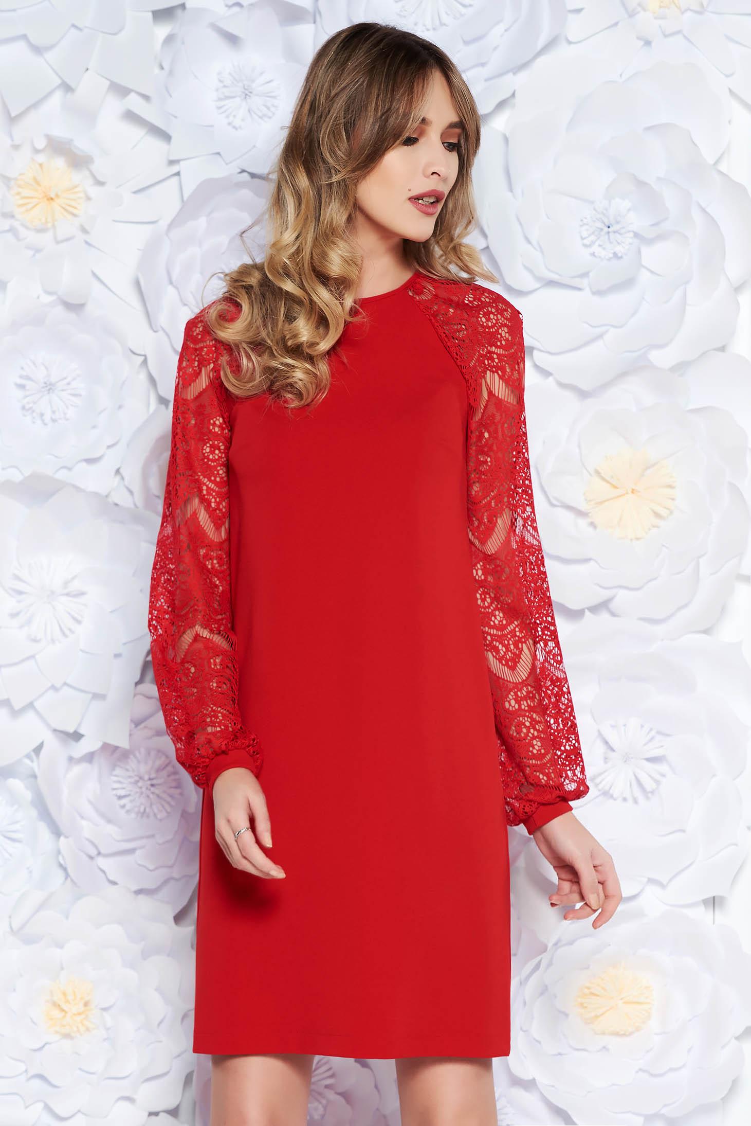 Piros StarShinerS elegáns bő szabású midi ruha enyhén rugalmas anyag csipke  ujjakkal 532f1b0c0d