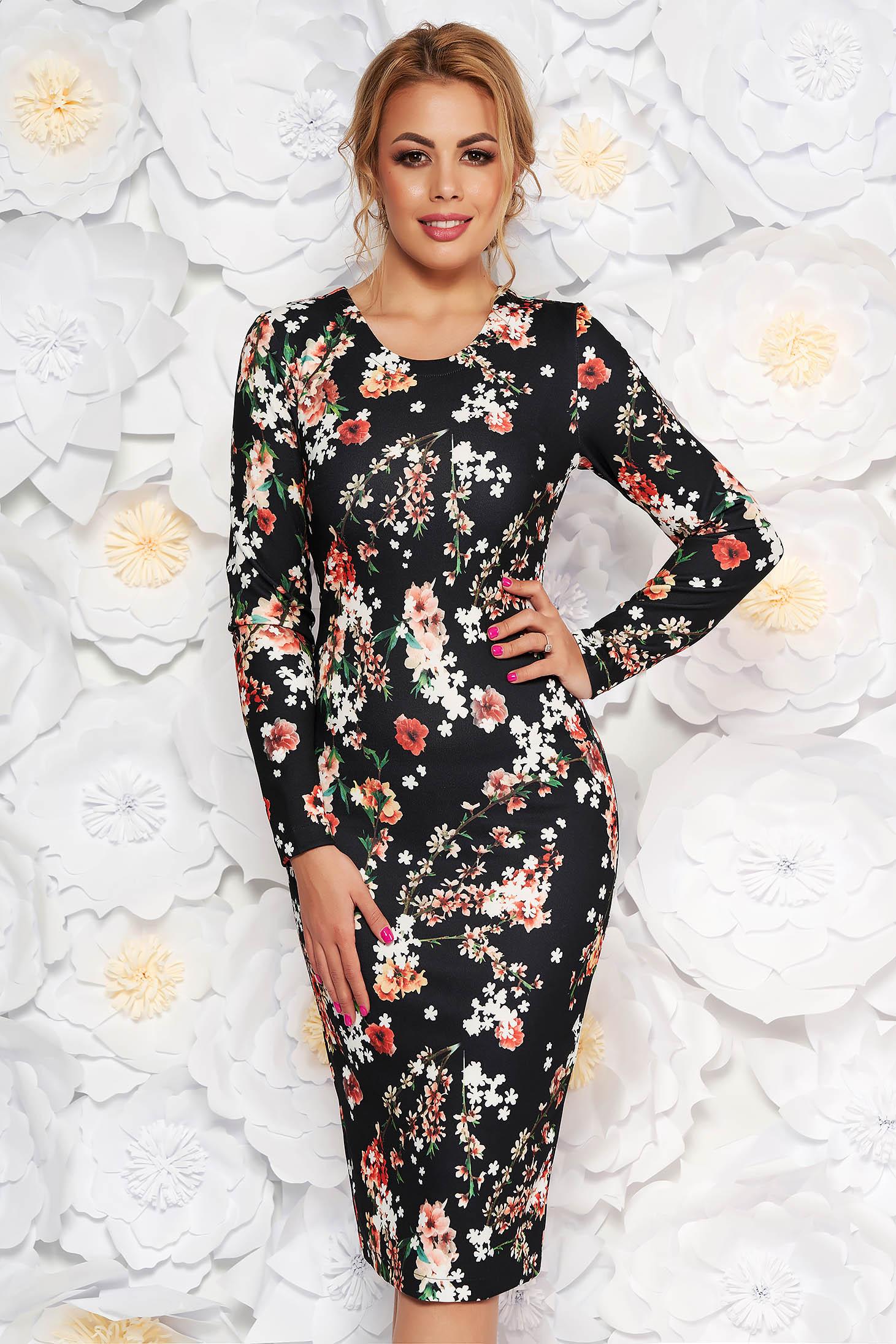Fekete StarShinerS hétköznapi midi ruha szűk szabás enyhén rugalmas anyag virágmintás