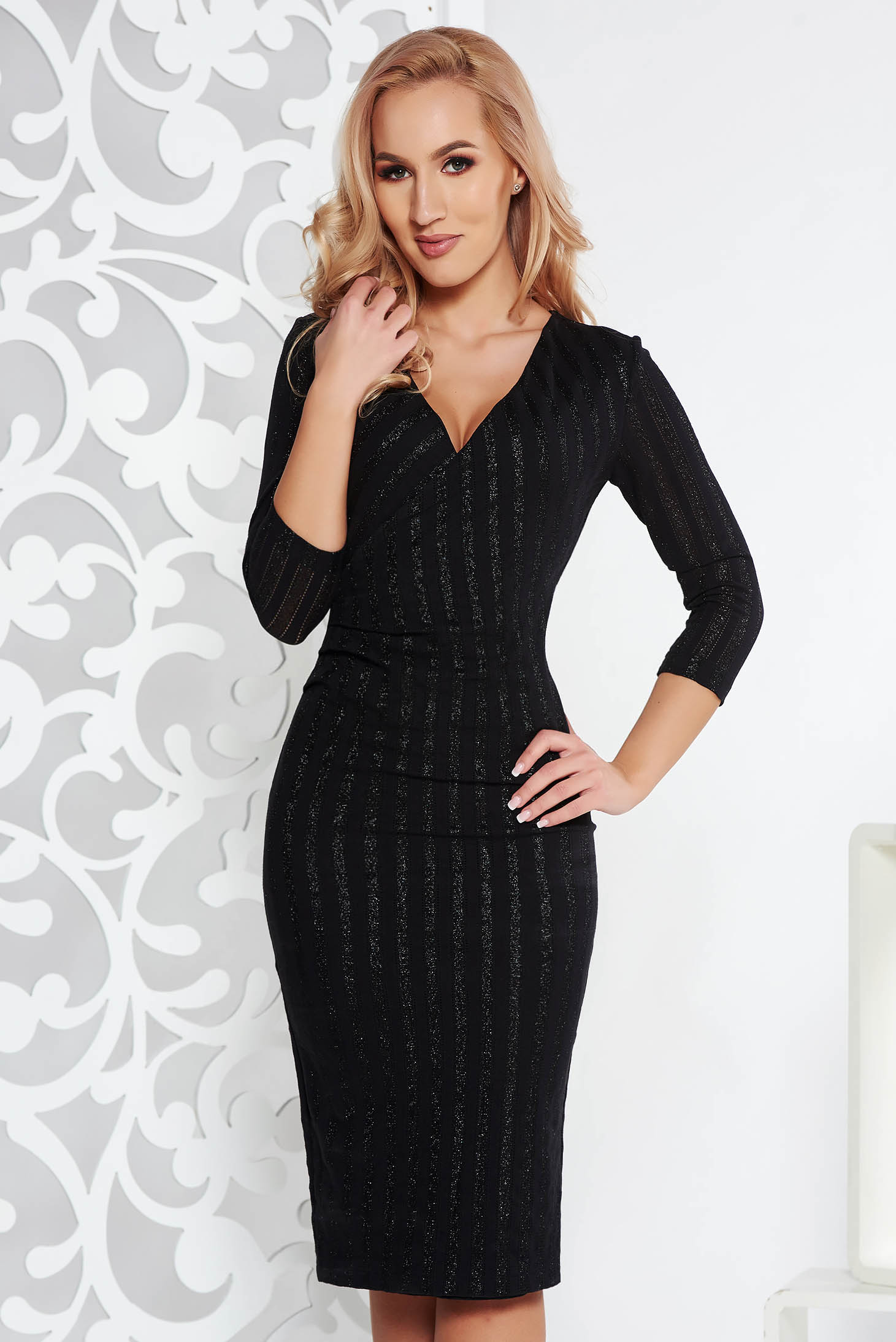 StarShinerS black dress occasional midi pencil slightly elastic fabric with inside lining with glitter details