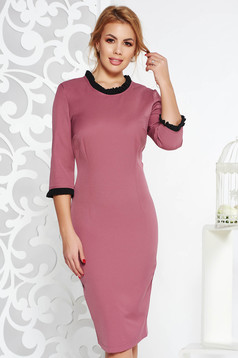 StarShinerS purple dress office midi with tented cut slightly elastic fabric with ruffle details