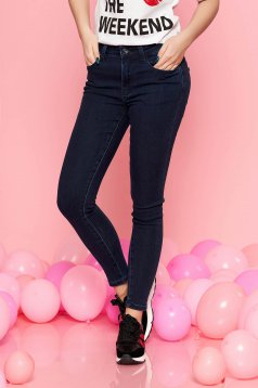 Top Secret darkblue skinny jeans jeans elastic cotton with medium waist with pockets
