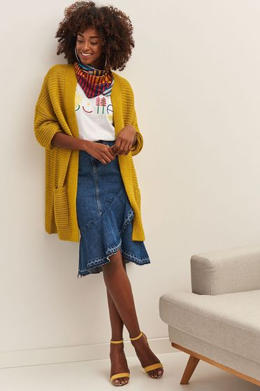 Top Secret yellow casual with easy cut cardigan knitted fabric with pockets