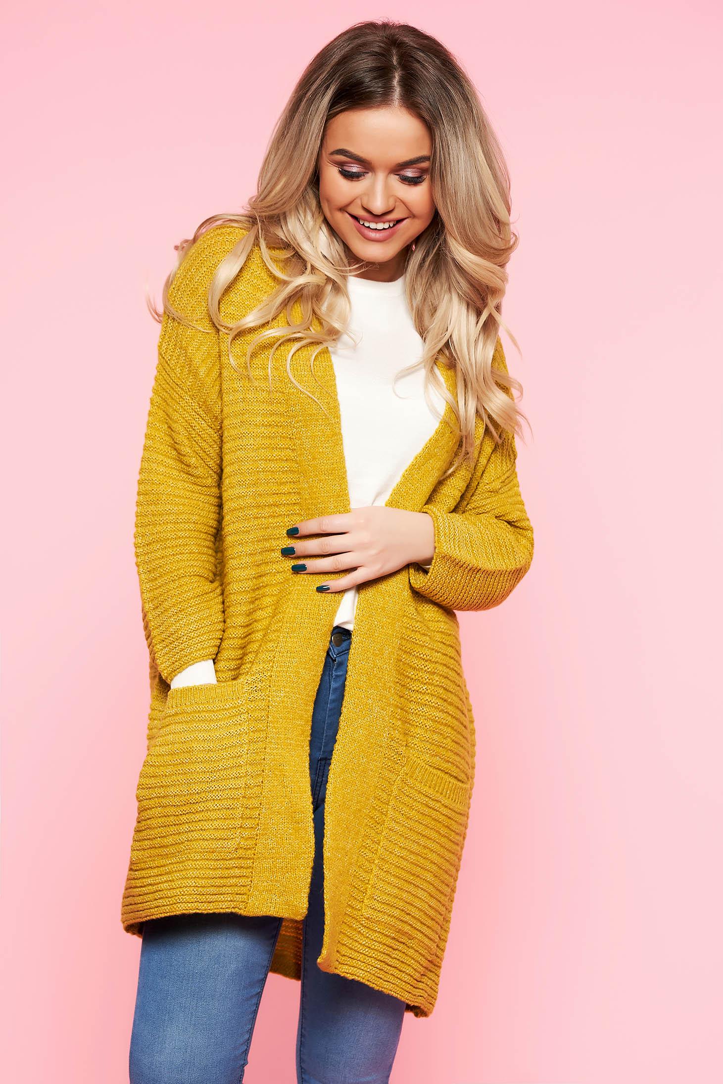 Cardigan Top Secret galben casual cu croi larg din material tricotat cu buzunare