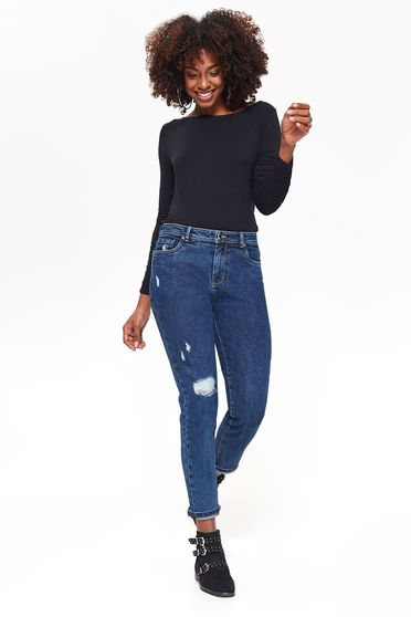 Top Secret blue jeans skinny jeans cotton with medium waist with pockets