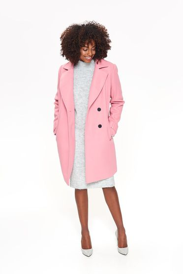 Top Secret pink casual straight coat from non elastic fabric with pockets
