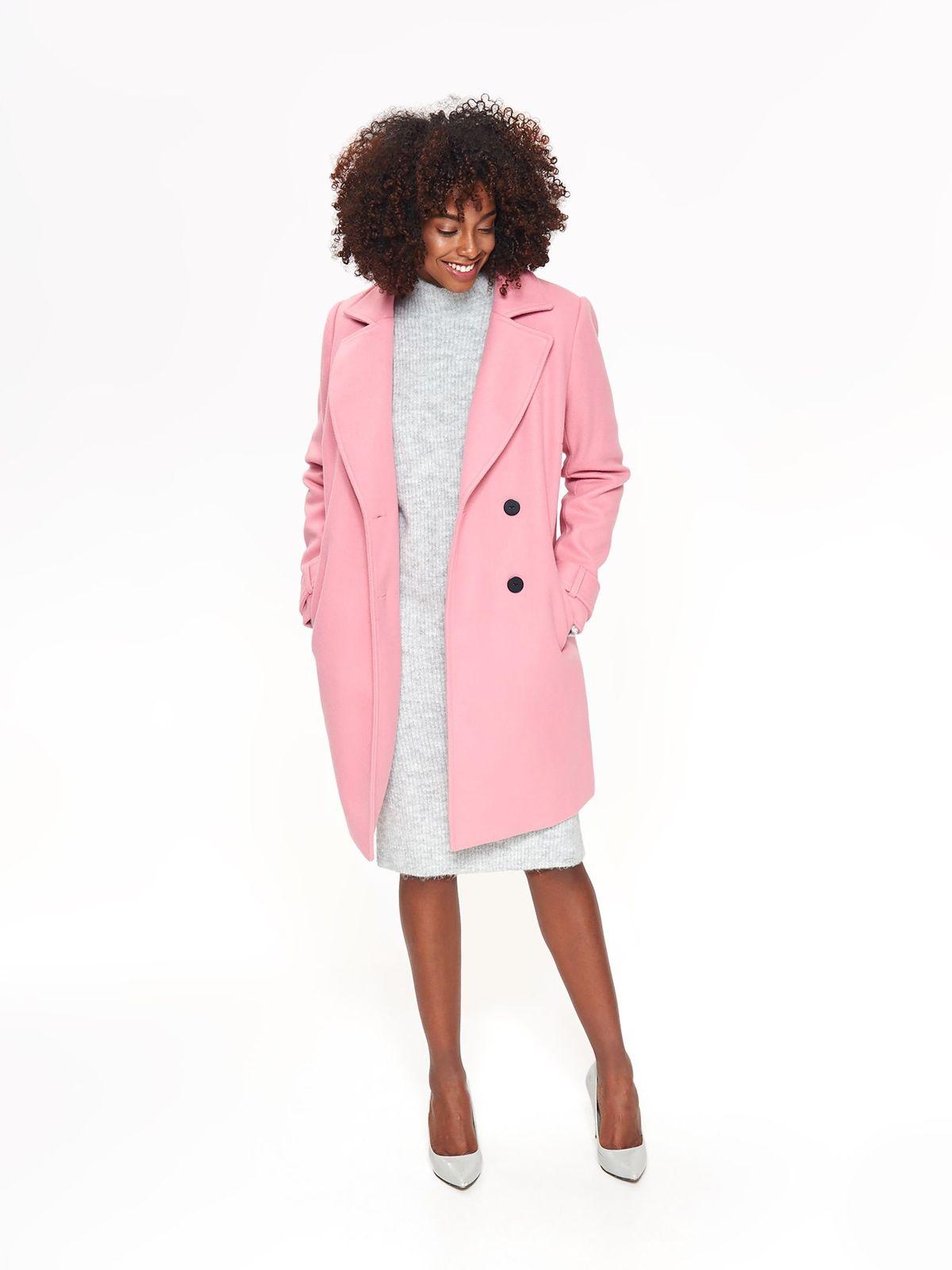 Palton Top Secret roz casual cu un croi drept din stofa neelastica cu buzunare