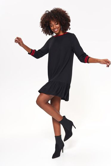 Top Secret black dress casual flared thin fabric with ruffles at the buttom of the dress