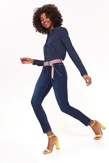 Top Secret blue skinny jeans jeans slightly elastic cotton with medium waist with pockets accessorized with belt