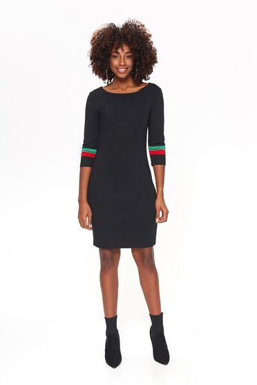 Top Secret black casual midi dress with tented cut slightly elastic fabric with 3/4 sleeves