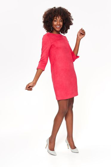 Top Secret coral dress daily from soft fabric with straight cut with 3/4 sleeves
