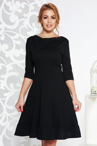 StarShinerS black midi office cloche dress from elastic fabric with 3/4 sleeves