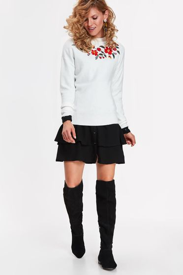 Top Secret white sweater casual flared from soft fabric with embroidery details