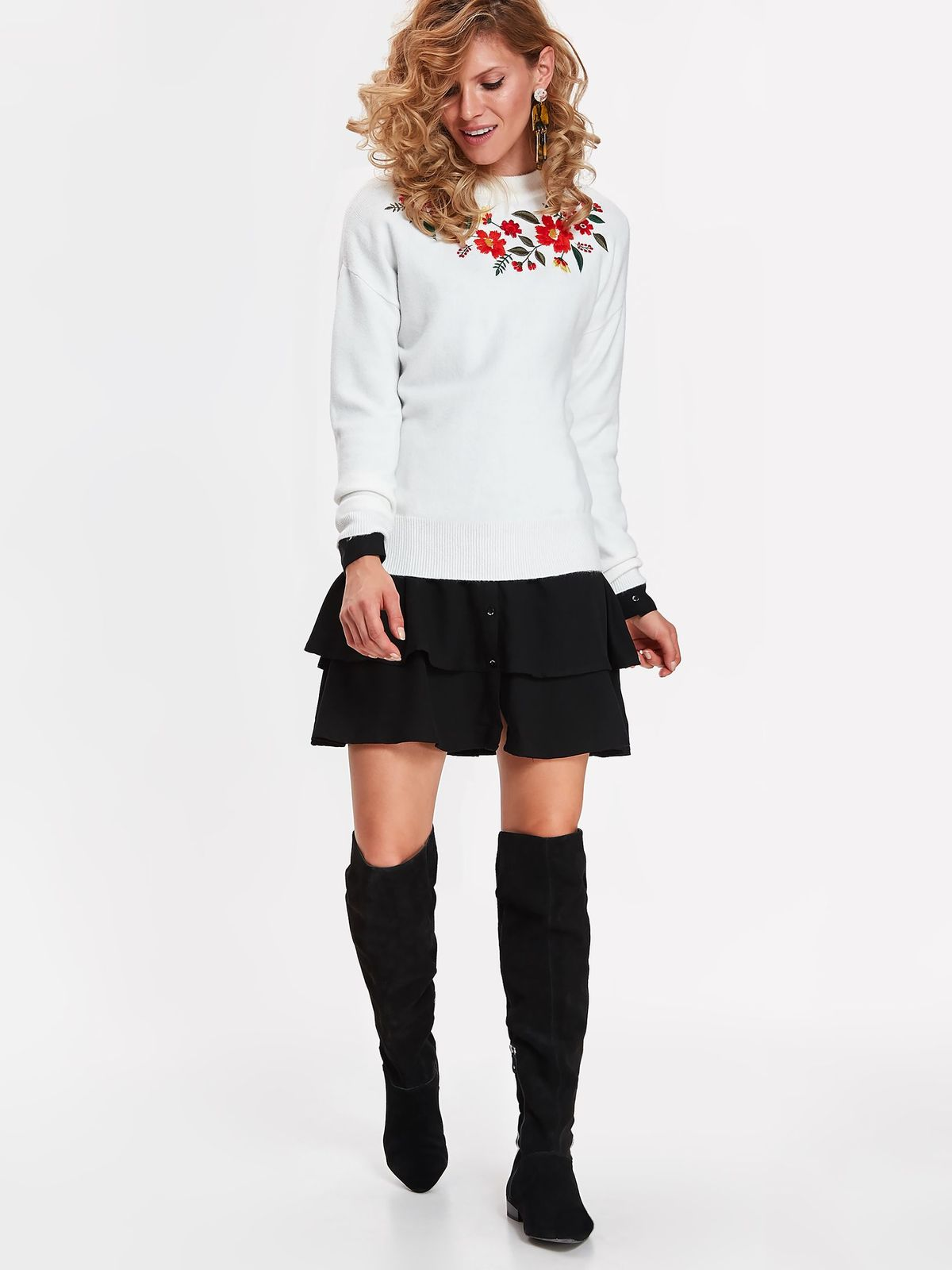 Pulover Top Secret alb casual cu croi larg din material moale cu insertii de broderie