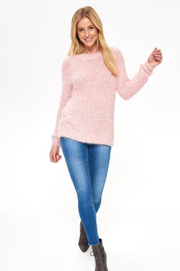 Top Secret pink sweater casual flared from fluffy fabric long sleeved