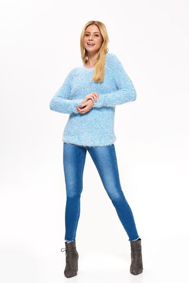Top Secret blue sweater casual flared from soft fabric long sleeve