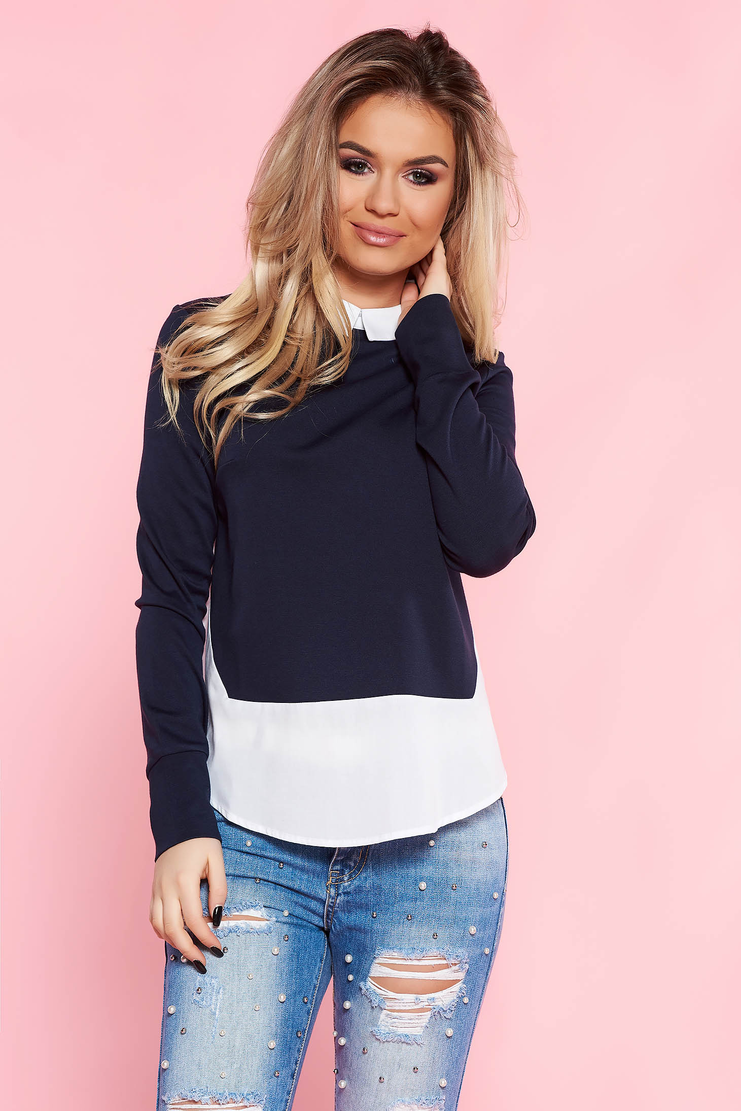 Top Secret darkblue casual flared women`s blouse soft fabric