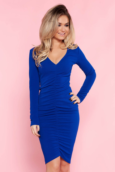 Top Secret blue dress daily with tented cut thin fabric with v-neckline