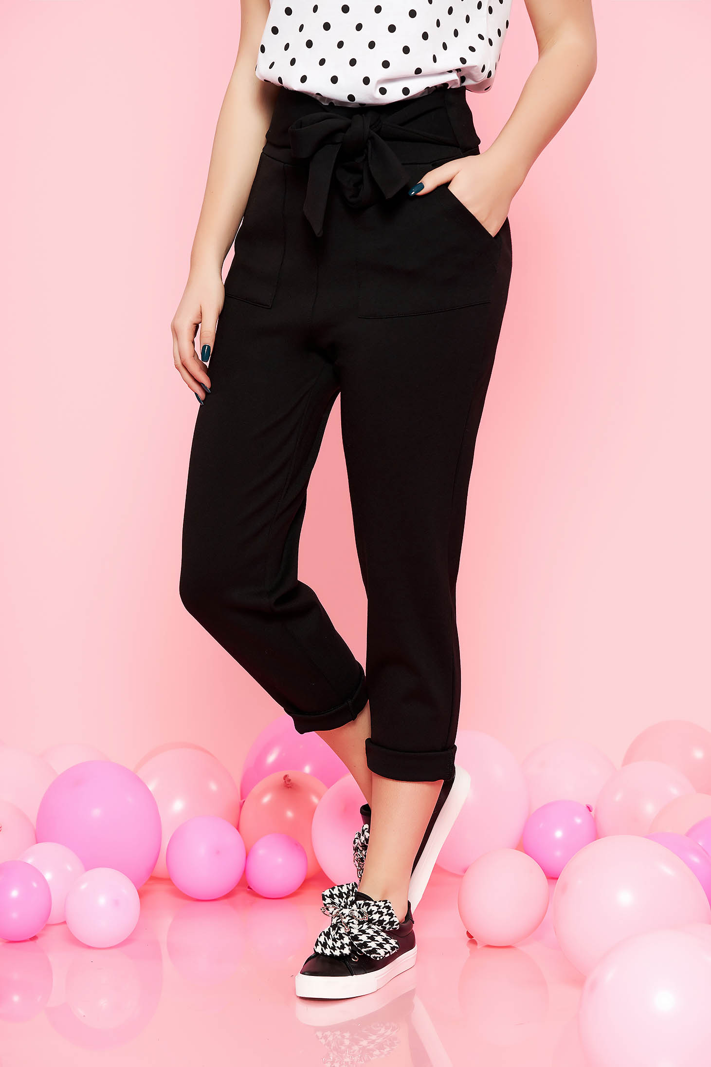 Top Secret black casual high waisted trousers slightly elastic fabric accessorized with tied waistband with pockets