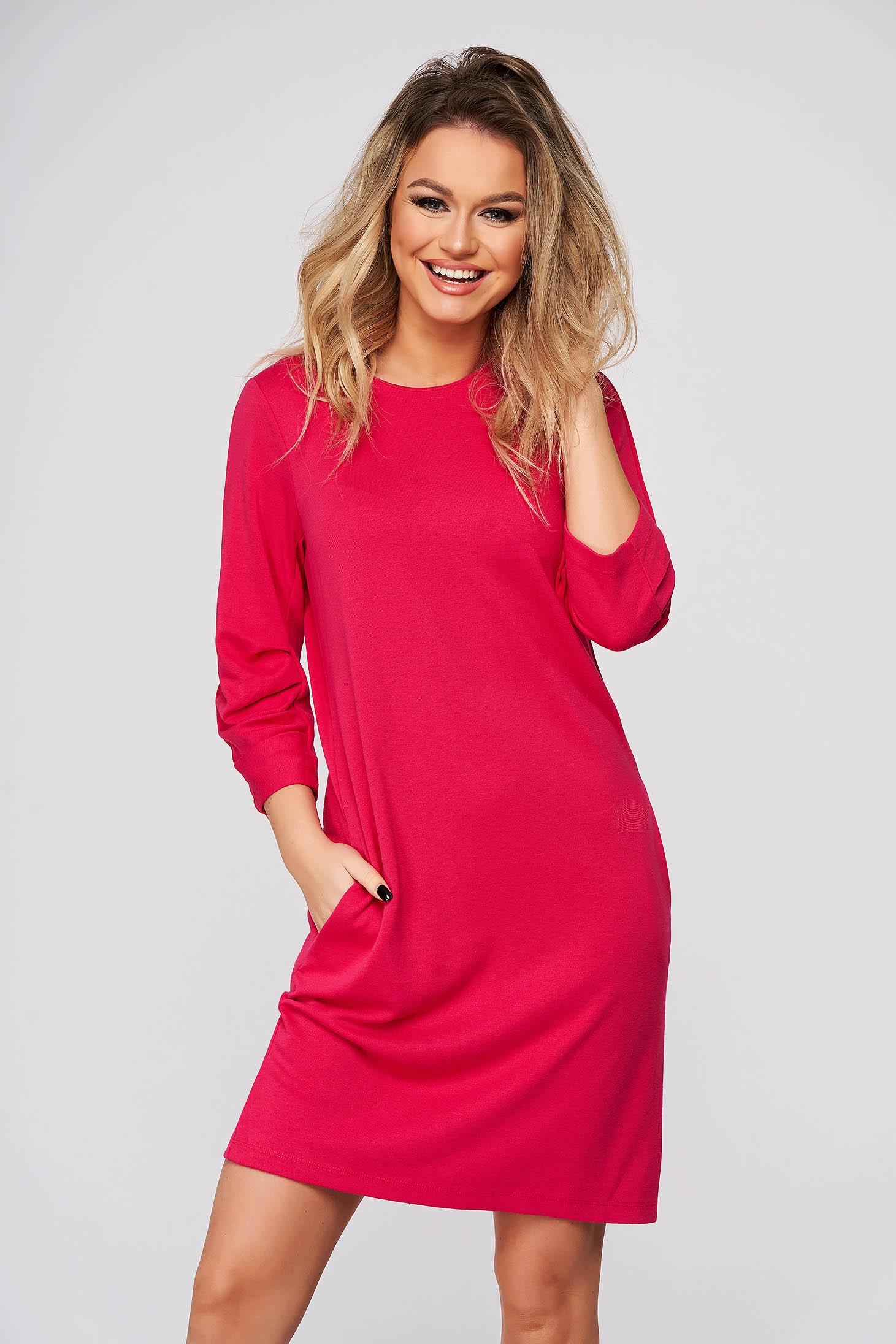 Pink dress short cut casual slightly elastic fabric