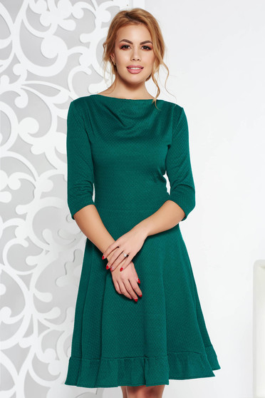 StarShinerS green midi office cloche dress from elastic fabric with 3/4 sleeves