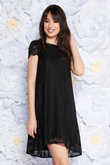 StarShinerS black elegant flared dress laced with inside lining short sleeves