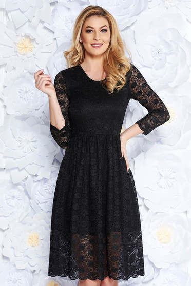 StarShinerS black laced flared dress 3/4 sleeve