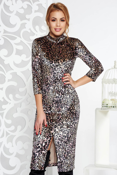 StarShinerS black clubbing dress from velvet with tented cut with turtle neck with animal print