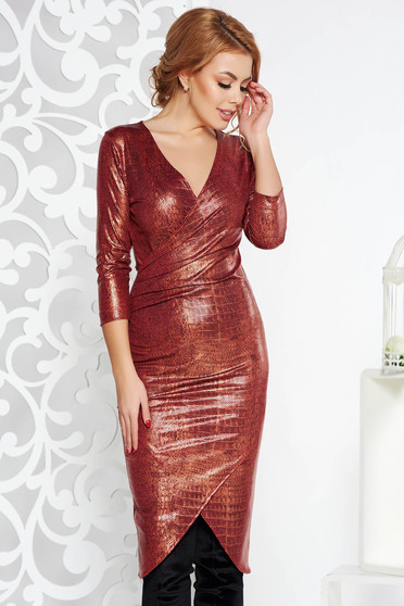 StarShinerS red midi clubbing dress with tented cut from shiny fabric with v-neckline