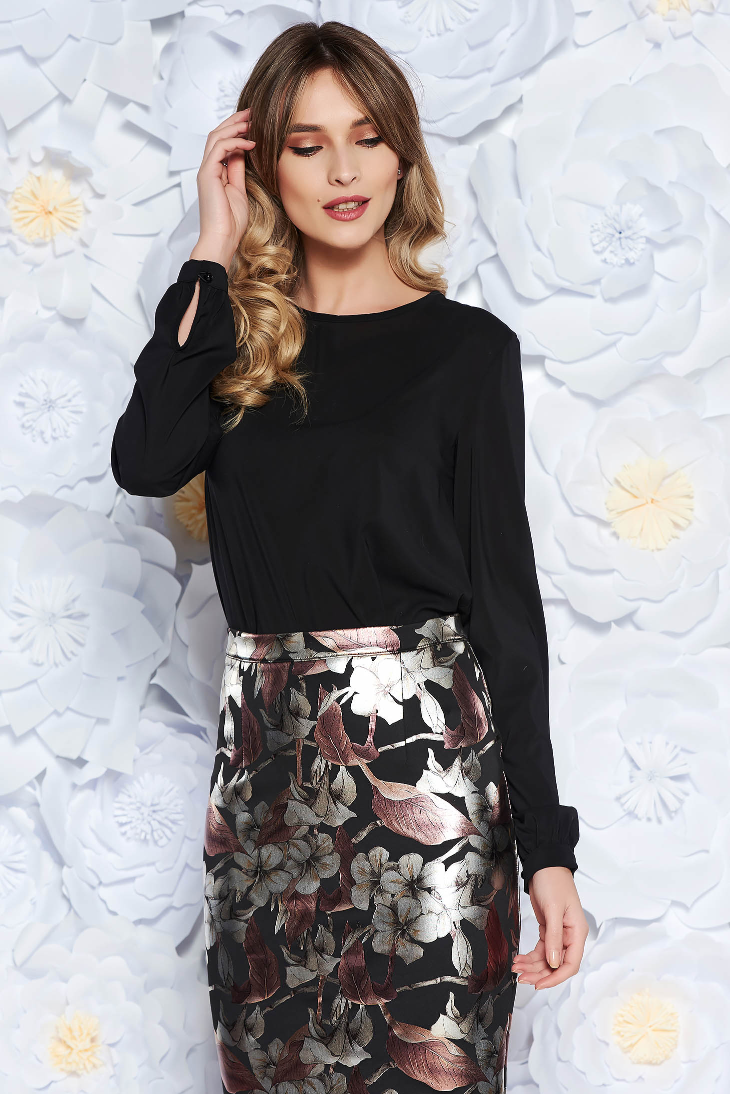StarShinerS black office flared women`s blouse from veil fabric long sleeved