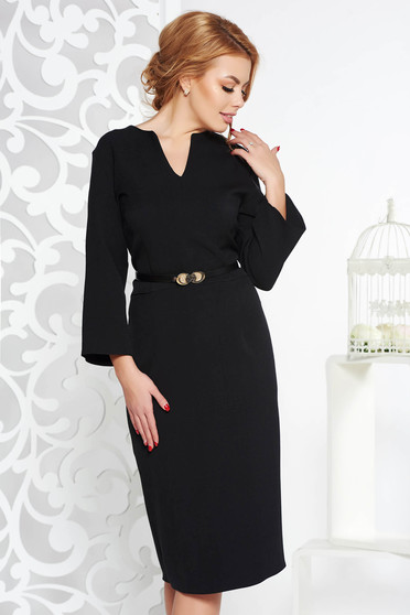 Black office pencil dress slightly elastic fabric accessorized with belt with v-neckline