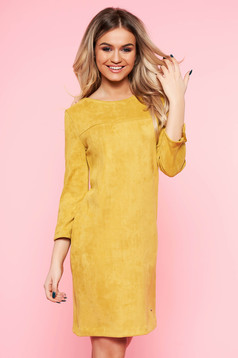 Top Secret yellow daily flared dress from velvet fabric with 3/4 sleeves