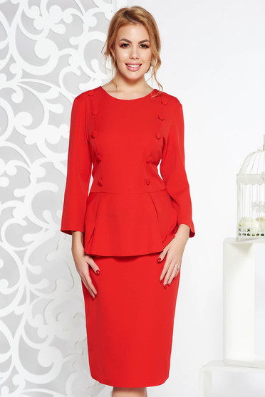 Red office midi pencil dress slightly elastic fabric with frilled waist