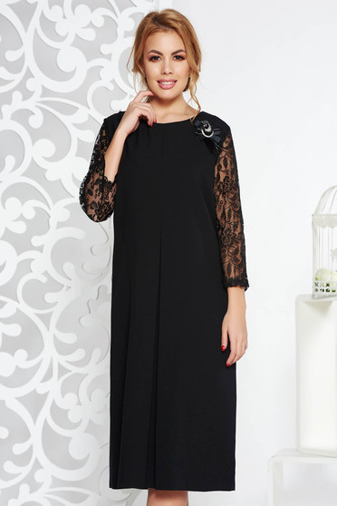 Black elegant flared dress soft fabric with laced sleeves