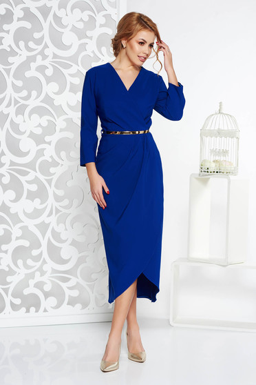 Blue elegant dress slightly elastic fabric with inside lining accessorized with belt