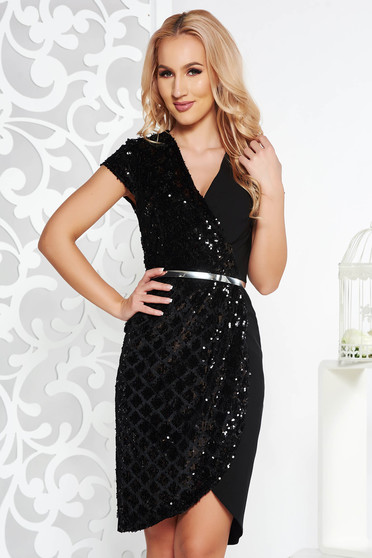 Black occasional dress with v-neckline slightly elastic cotton with sequin embellished details